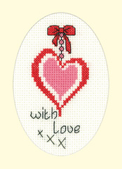 Heritage Crafts Kits HCK1208 Greeting Cards By Michaela ~ With Love 3 Pack ~ 14 Count Aida
