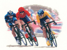 Heritage Crafts Kits HCK1214A John Clayton Collection ~ Sporting Scenes ~ Cycle Race ~ 14 Count Aida