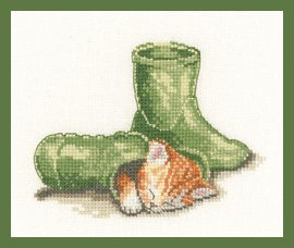 Heritage Crafts Kits HCK1239 A Peter Underhill ~ Little Darlings ~ Puss In Boots ~ 14 Count Aida