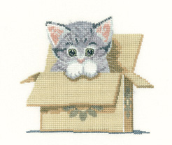 Heritage Crafts Kits HCK1249 Peter Underhill ~ Little Darlings ~ Cat In Box ~ 27 Count Evenweave