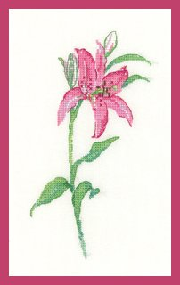 Heritage Crafts Kits HCK1252 Sue Hill Collection ~ Flowers ~ Pink Lily ~ 27 Count Evenweave