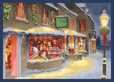 Heritage Crafts Kits HCK1268A John Clayton Collection ~ Christmas Toy Shop Scene ~ 14 Count Aida