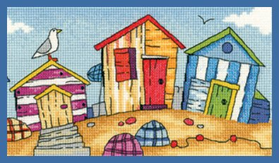 Heritage Crafts Kits HCK1273A Karen Carter ~ By The Sea ~ Beach Huts ~ 14 Count Aida
