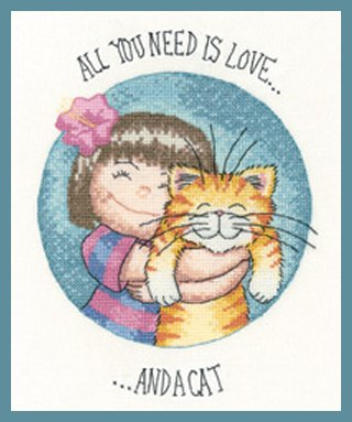 Heritage Crafts Kits HCK1282 Peter Underhill ~ Cats Rule ~ All You Need Is Love & A Cat ~ 27 Count Evenweave