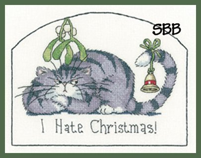 Heritage Crafts Kits HCK1287A Peter Underhill ~ Cats Rule ~ I Hate Christmas ~ 14 Count Aida