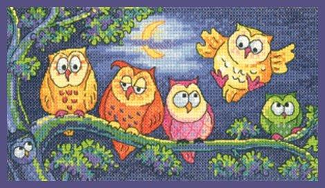 Heritage Crafts Kits HCK1296A Karen Carter ~ Birds Of A Feather ~ A Hoot Of Owls ~ 14 Count Aida