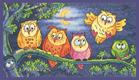 Heritage Crafts Kits HCK1296 Karen Carter ~ Birds Of A Feather ~ A Hoot Of Owls ~ 27 Count Evenweave