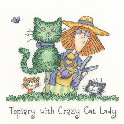 Heritage Crafts Kits HCK1301 Peter Underhill ~ Cats Rule ~ Topiary With Crazy Cat Lady ~ 27 Count Evenweave