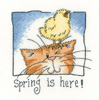 Heritage Crafts Kits HCK1304 Peter Underhill ~ Cats Rule ~ Spring Is Here ~ 27 Count Evenweave