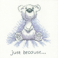 Heritage Crafts Kits HCK1309 Peter Underhill ~ Justing Bear ~ Just Because ~ 14 Count Aida