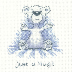 Heritage Crafts Kits HCK1310 Peter Underhill ~ Justing Bear ~ Just a Hug ~ 14 Count Aida