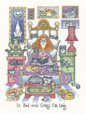 Heritage Crafts Kits HCK1331 Peter Underhill  ~ Cat's Rule  ~ In Bed With Crazy Cat Lady ~ 28 Count Evenweave