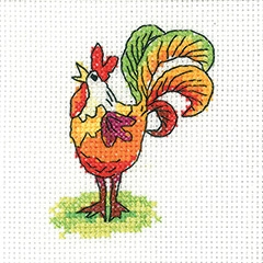 Heritage Crafts Kits HCK1343 Karen Carter ~ Simply Heritage ~ Cockerel ~ 14 Count Aida