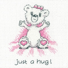 Heritage Crafts Kits HCK1346 Peter Underhill ~ Justin Bear Cards ~ Just A Hug (pink) ~ 14 Count Aida