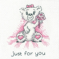 Heritage Crafts Kits HCK1347 Peter Underhill ~ Justin Bear Cards ~ Just For You (pink) ~ 14 Count Aida