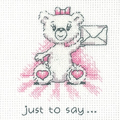 Heritage Crafts Kits HCK1348 Peter Underhill ~ Justin Bear Cards ~ Just To Say (pink) ~ 14 Count Aida