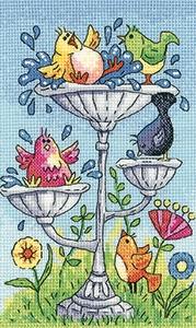Heritage Crafts Kits HCK1351A Karen Carter ~ Birds Of A Feather ~ Birdbath ~ 14 Count Aida