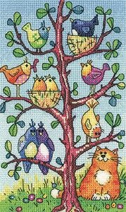 Heritage Crafts Kits HCK1360 Karen Carter ~ Birds Of A Feather ~ Bird Watching ~ 27 Count Evenweave