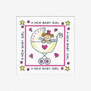Heritage Crafts Kits HCK410 Karen Carter ~ New Baby Girl ~ Cards (3 pack) ~  14 Count Aida