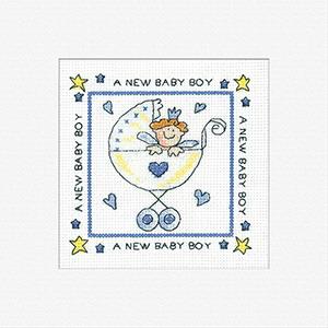 Heritage Crafts Kits HCK411 Karen Carter ~ New Baby Boy ~ Cards (3 pack) ~  14 Count Aida