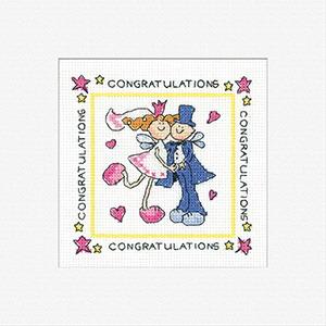 Heritage Crafts Kits HCK413 Karen Carter ~ Fairy Wedding ~ Cards (3 pack) ~  14 Count Aida