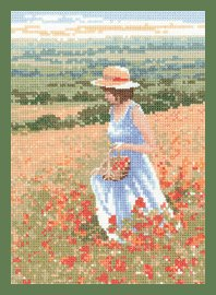 Heritage Crafts Kits HCK649A Leslie Stones ~ Memories ~ Poppy Girl ~ 14 Count Aida