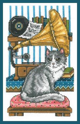 Imaginating Vintage Music Cat