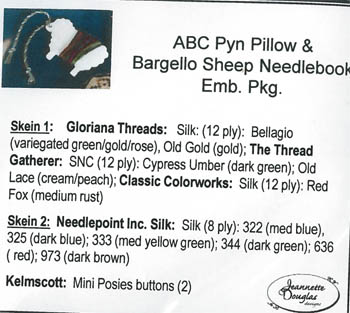 Clearance Jeannette Douglas Designs ABC Pyn Roll & Bargello SheepNeedlekeep Embellishment Pack