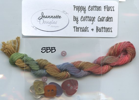 Clearance Jeannette Douglas Designs A Banner Occasion Poppy Cotton Floss & Buttons Pack