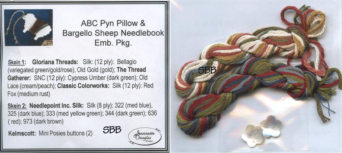 Jeannette Douglas Designs  ABC Pyn Roll & Bargello Sheep Needlekeep Embellishment Pack
