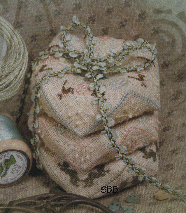 Jeannette Douglas Designs Spring Biscornu Stackers with Embellishments & Silk