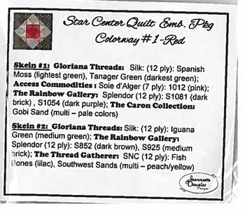 Jeannette Douglas Designs  Star Center Quilt ~ Colourway #1 Red Threadpack
