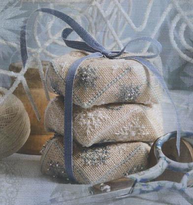 Jeannette Douglas Designs Winter Biscornu Stackers with Embellishments & Silk