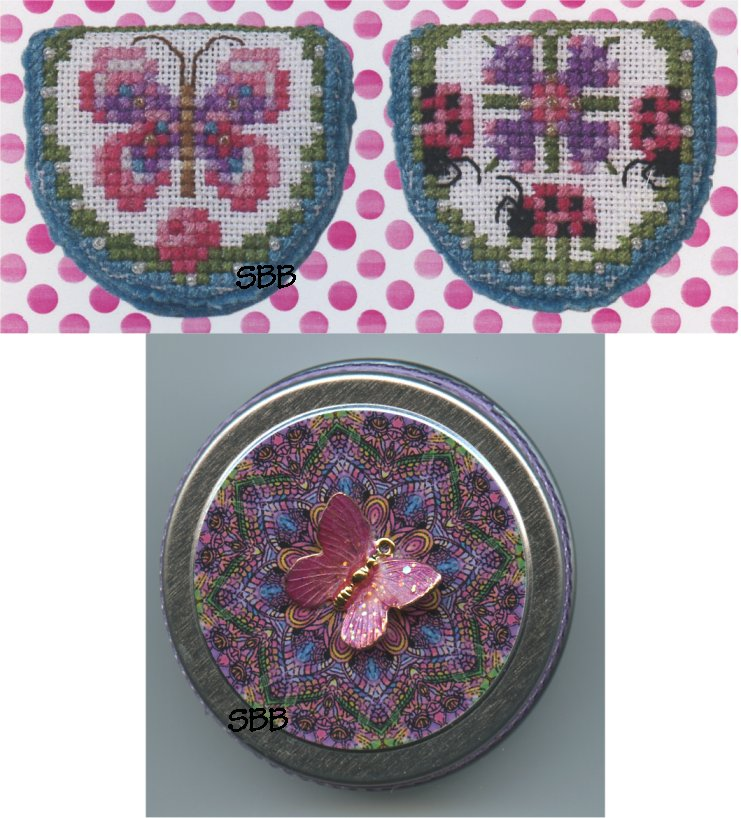 Just Nan Clearance  JN286 Limited Edition Pink Ladies Needlebook with Embellishments & Butterfly Tin