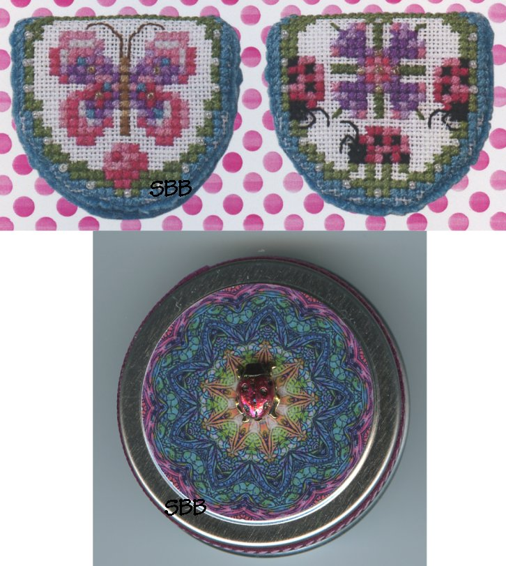 Just Nan Clearance  JN286 Limited Edition Pink Ladies Needlebook with Embellishments & Ladybug Tin