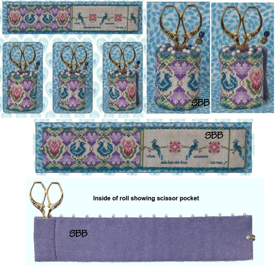 Just Nan Clearance  Peacock Garden Scissor Roll With Embellishments