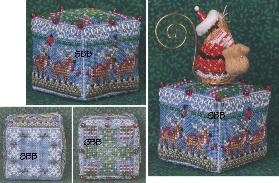Just Nan Clearance  JN292 8 Tiny Reindeer Cube With Embellishments