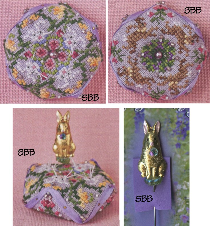 Just Nan Clearance  JN294 Tiny Bunny Biscornu With Embellishments & Bright Bunny Charm Garden Pin