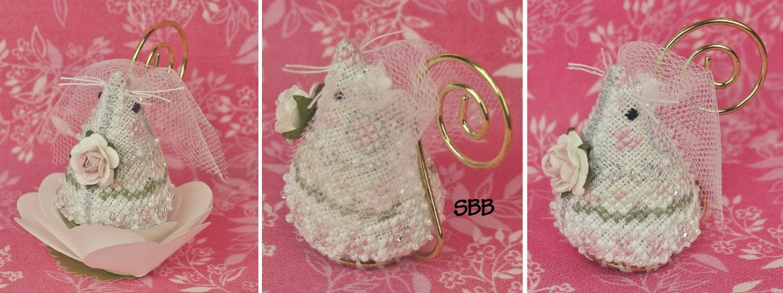 Just Nan Clearance  Juliet The Bride Mouse With Embellishments