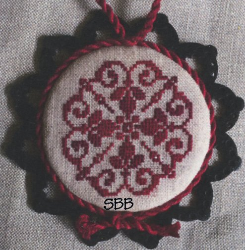 Keslyn's   Laser Lace Ornament ~ Burgundy Night (Includes Wooden Ornament)