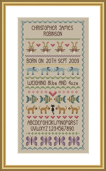 Little Dove Designs Baby Boy Birth Sampler