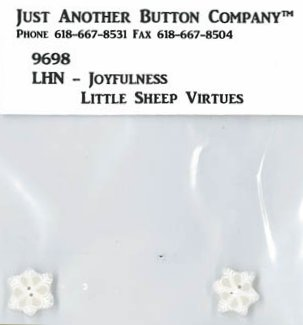 Little House Needleworks Little Sheep Virtues #12 Joyfulness ~ JABCo Button Pack 9698/Two 4442.T Tiny Snowflakes