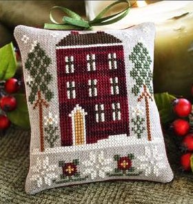 Little House Needleworks2010 Ornament of the Month #6 ~ Red House In Winter