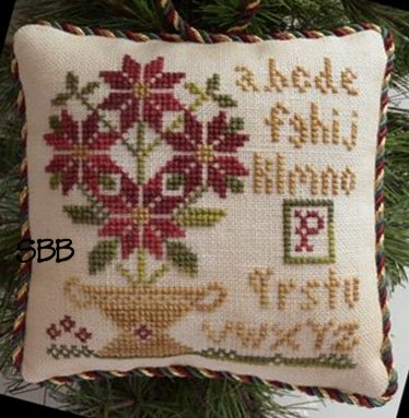 Little House Needleworks The Sampler Tree Ornament Series #8 Potted Poinsettia