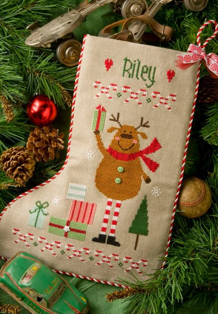 Lizzie*Kate Charts169 Reindeer Stocking