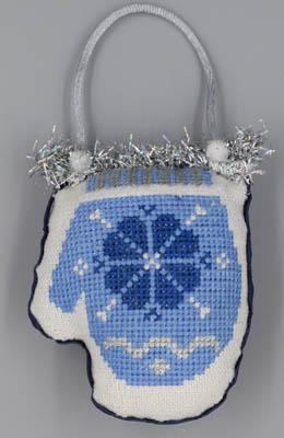 Misty Hill Studio Blue & Silver Christmas ~ Mitten