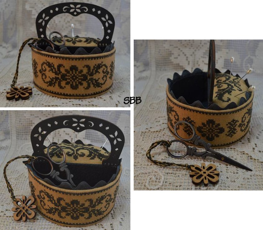 Mani di Donna Black Flowers Sewing Box With Hand Made Handle & Scissor Fob