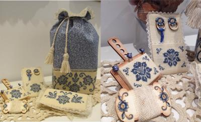 Mani di Donna Blue Elegance Sewing Bag With Hand Painted Wood Rings & Lace Keeper