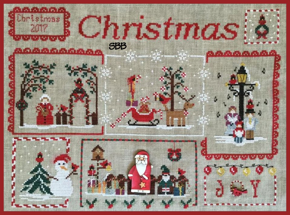 Mani di Donna Cardinal Mystery Sampler Part 4 ~ Snowman & Santa Clause