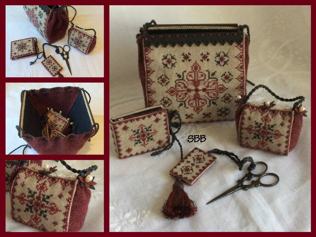 Mani di Donna Gather Me Up Black Ruby Sewing Purse With Hand Painted Wooden Rods